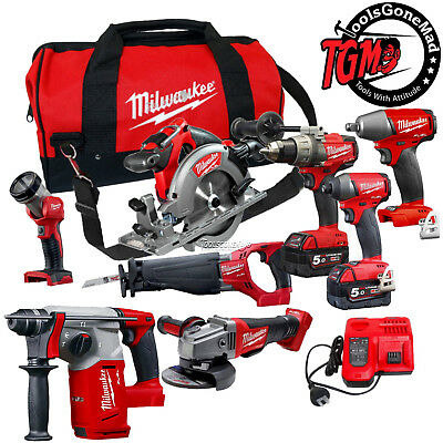 Milwaukee 18V Fuel Brushless 8-Pc Kit M18Fpp6C-502B+M18Fiwp12+M18Ch 5Ah Next Gen