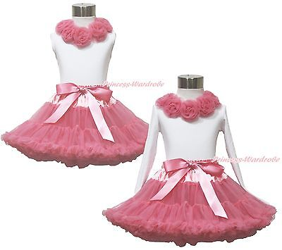 White Top Shirt Dusty Pink Rose Skirt Girl Pettiskirt Set Clothing Outfit 1-8Y