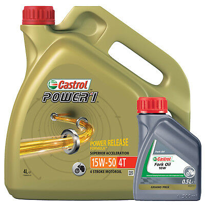 Castrol Power 1 4T 15W50 Motorcycle Engine Oil 4L+Castrol 10w Fork Oil Mineral