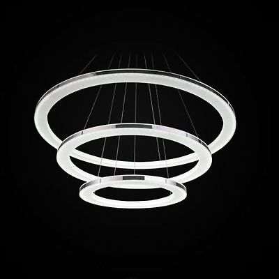 Modern LED 3 Rings Round Acrylic Pendant Lamp Ceiling Light Chandeliers Living