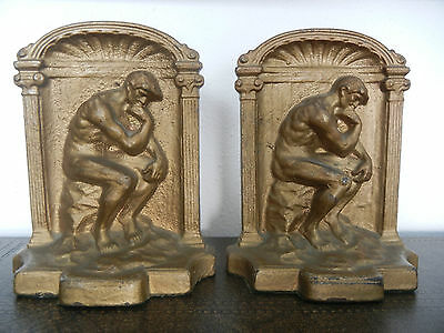 Vintage Rodin's The Thinker Bookends Cast Iron Gold Tone Art Deco Man Nude