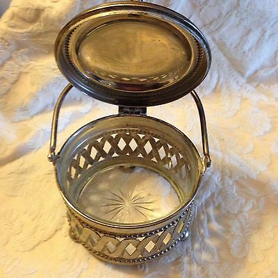 ANTIQUE Lever Lift DOME BUTTER DISH Crystal Insert