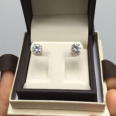2.00 Ct Diamond Stud Earrings Man Made Round Brilliant White Yellow Solid Gold