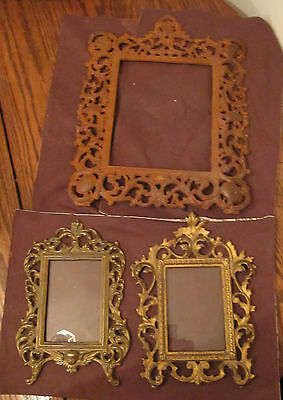 lot of 3 antique ornate solid cast iron bronze gold gilded picture frame old