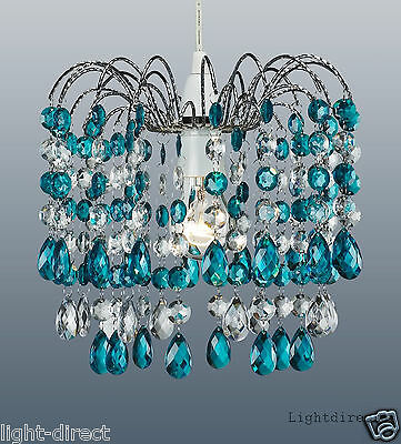 TEAL BLUE CRYSTAL DROPLET STYLE CASCADE PENDANT LIGHT SHADE LAMPSHADE 1st class