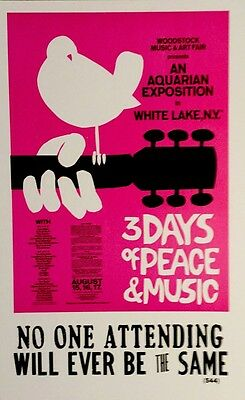 Woodstock 3 Days of Peace and Music Commemerative poster