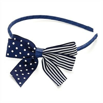 Navy Satin Headband With White Spot/Stripe Side Bow RRP £2.00 - Brand New & Tag