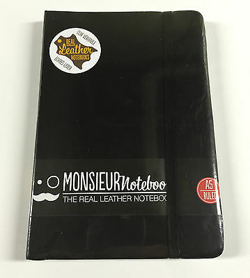 "Monsieur Black Leather Notebook A5 Ruled 192 Pages - 8.25"" x 5.5"" - NEW SEALED"