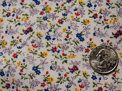 """Vintage Red Blue Flower Brushed Cotton Fabric Scraps 14""""x 11""""(3) 44""""x 7"""" 44""""x 5"""""""