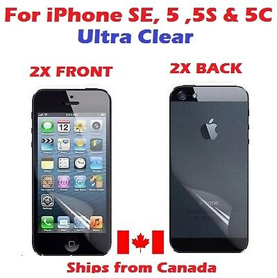 4pcs - 2x Front and 2x Back Clear Screen Protector for iPhone 5 5S 5C