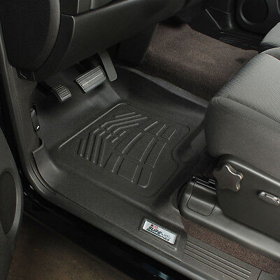 Sure-Fit BLACK 2Pc Front Floor Liner Mats 2007-2013 Chevy Silverado Extended Cab