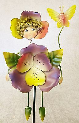 Whimsical Colorful 3D Metal Garden Stake ~ Lavender Pansy With Butterfly Fairy