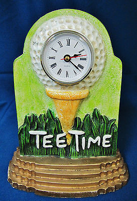 Vintage Tee Time Quartz Clock Golf Ball Themed Painted Cast Iron Tabletop Mantle