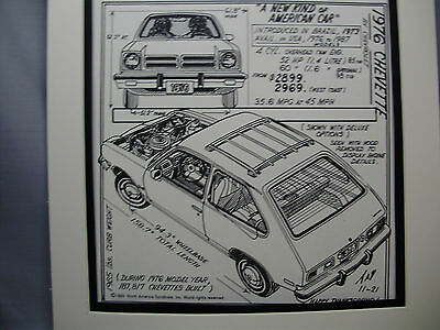 1976 Chevette Chevrolet   Auto Pen Ink Hand Drawn  Poster Automotive Museum