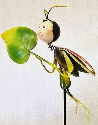 Cute Whimsical Colorful 3D Metal Garden Stake ~ Green Red Yellow Ladybug W/ Leaf