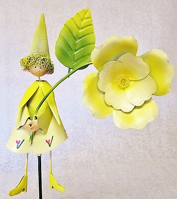 Cute Whimsical Colorful 3D Metal Garden Stake ~ Yellow Large Flower Fairy Lady