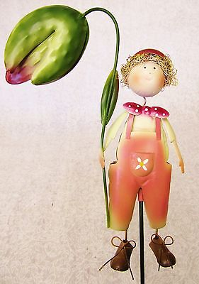 Whimsical Colorful 3D Metal Garden Stake ~ Salmon Pink Overalls Boy With Flower