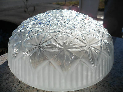 Vintage Round Clear Frosted Art Deco Glass Ceiling Light Lamp Shade 7 1/2""