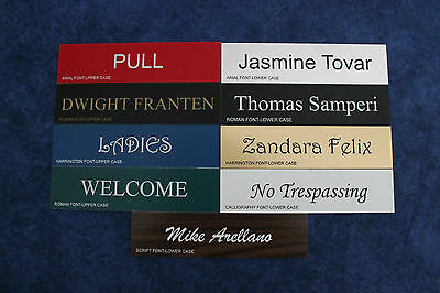 Name Sign 2x8 Plastic Custom Word/Name/Phrase *Color & Font Choice* Engrave Free