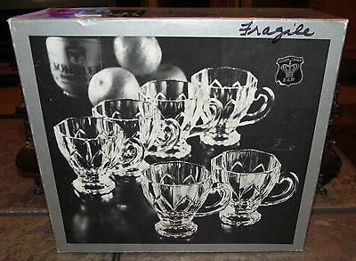 VINTAGE E & R GOLDEN CROWN 24% LEAD CRYSTAL PUNCH CUPS Lot of 6 GERMANY In Box