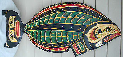 "Northwest Coast Native Art LARGE 30"" HALIBUT CARVING SCULPTURE BY LAWRENCE SCOW"