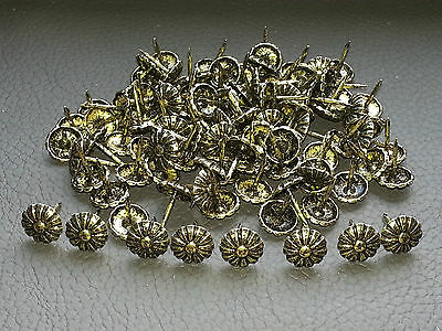 200 Antique Brass finish Daisy upholstery nails Decorative domed studs 12mm wide