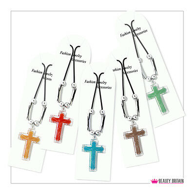 12 Necklaces with Cross 5 Different Colours & Designs New Unisex UK Seller