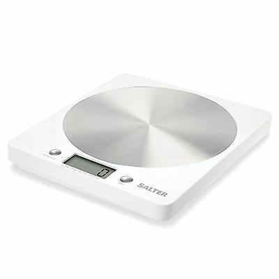 Salter Slim Design Electronic Platform Digital Kitchen Food Scale - White, NEW