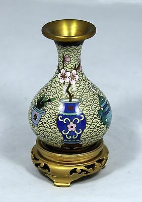 """Hand Made Chinese Cloisonne Miniature Vase"" with Hand Carved Wooden Stand"