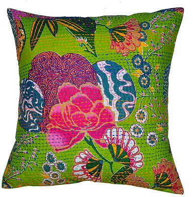 """16"""" INDIAN KANTHA CUSHION COVER HANDMADE DECORATIVE VINTAGE FLORAL GREEN PILLOW9"""