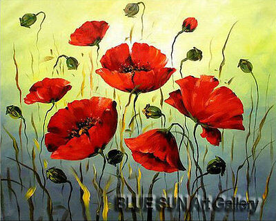 Modern oil painting on Canvas Wall Art Deco Poppy Flower Hand Painted 20×24 BD19