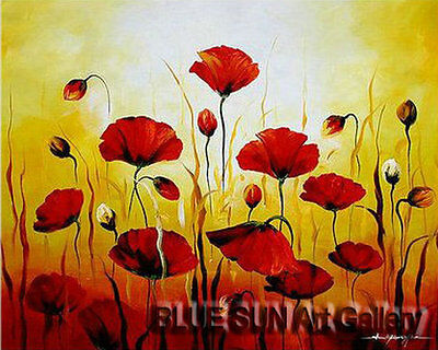 Modern oil painting on Canvas Wall Art Deco Poppy Flower Hand Painted 20×24 BD06