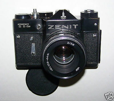 Zenit TTL Camera With 2/58 Helios-44m Lens & Original Leather Case Made In USSR