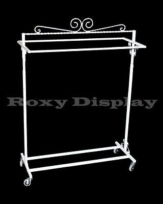 Rolling Rack Unique Art Design Clothes Display Stands Double Rail #RK-TY2BAR-W