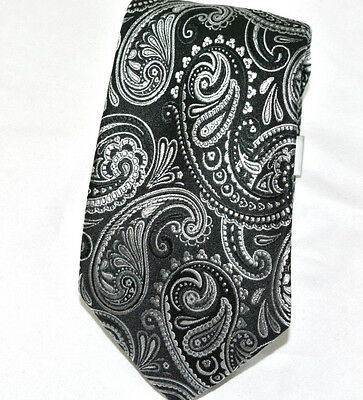 New Geoffrey Beene Mens Dress Shirt Suited Neck Tie Silk Black Silver Paisley