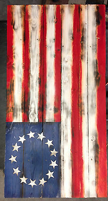 Hand Crafted Wood American 13 Star Flag Decor