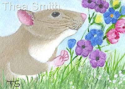 NFAC ACEO Rat Sees Flowers ORIGINAL PAINTING Small Acrylic Art byThea Smith