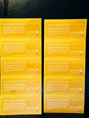 United Airlines Alcoholic Drink Coupons Lot of 10 FACE VALUE $79 Expires Jan2016
