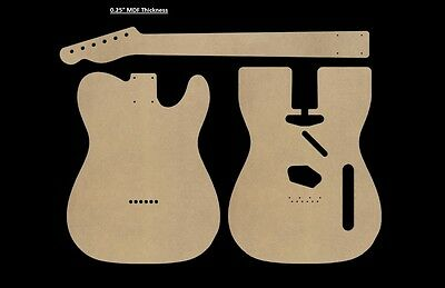 "Telecaster MDF Guitar Body and Neck Template 0.25"" thickness CNC made tele"