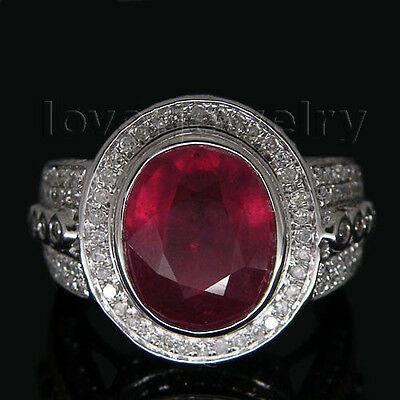 Solid 14K White Gold 5.87CT Genuine Natural Diamond Blood Ruby Ring