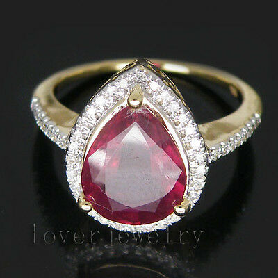 Solid 14K Yellow Gold 3.75CT Genuine Natural Diamond Blood Ruby Engagement Ring