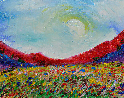 Oil Painting on Canvas signed by MacGregor Art Red Mountains Field of Flowers NR