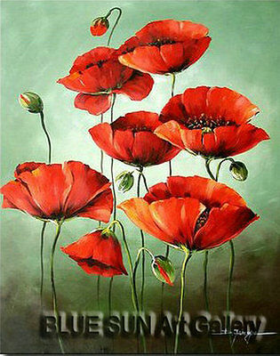 Modern oil painting on Canvas Wall Art Deco Poppy Flower Hand Painted 20×24 BD11