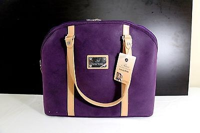 Joy Mangano Luxury Tote Paris Trunk Show Collection Purple and Tan Matching set