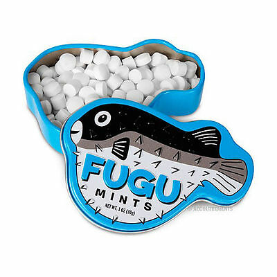 Accoutrements FUGU MINTS Candies in Pufferfish Shaped EMBOSSED TIN Japanese Fish