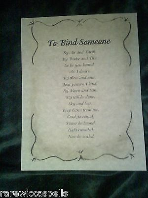 To Bind Someone / Protect Wicca Book of Shadows Parchment pg Pagan Occult Spells
