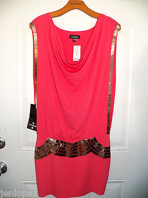 NWT bebe coral pink gold sequin drape neck armor top dress sexy M 6 8 meidum