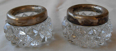 Pair Of Vintage Glass Open Salt Cellars With Russian 875 Silver Around The Rim