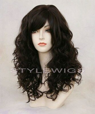 Full Volume Long Curly Wavy w/ Bangs Dark Brown Wig TIRW 4