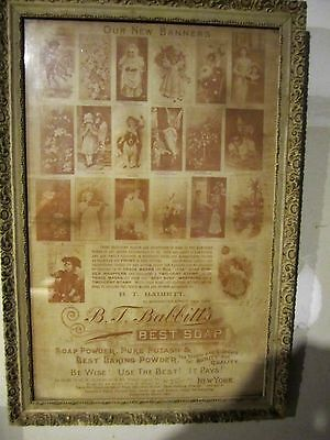Antique White and Gold Gesso Trim Picture Frame with B T Babbitt Soap Poster